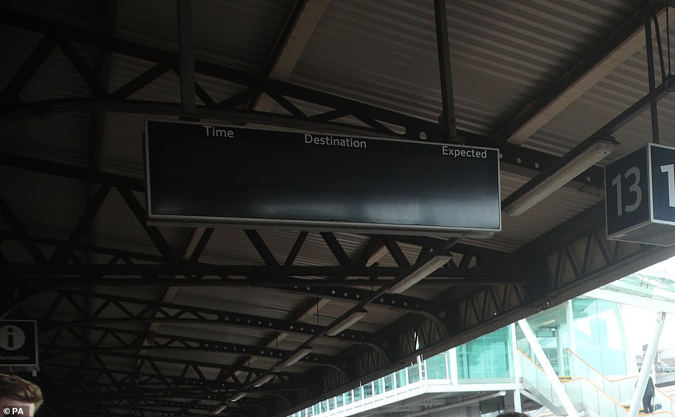 A notice board at Clapham Junction in London ceased to function following the power cut, with passengers left waiting on the platform