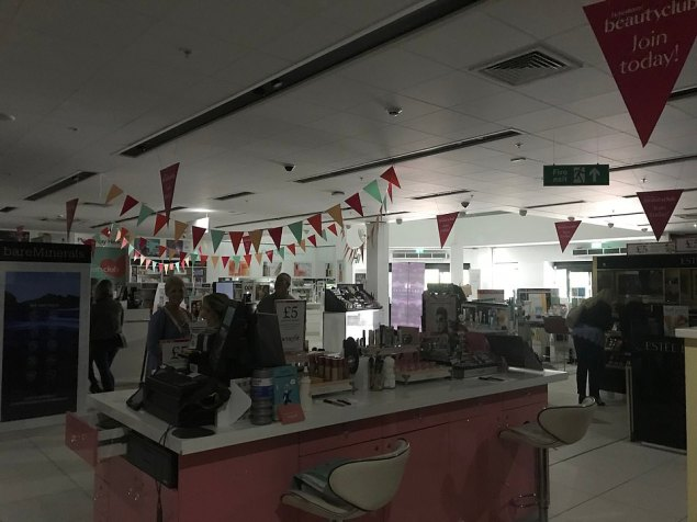 There was darkness at a Debenhams in Cheshire following the power cut on Friday afternoon. The power was off across the entire Cheshire Oaks Designer Outlet