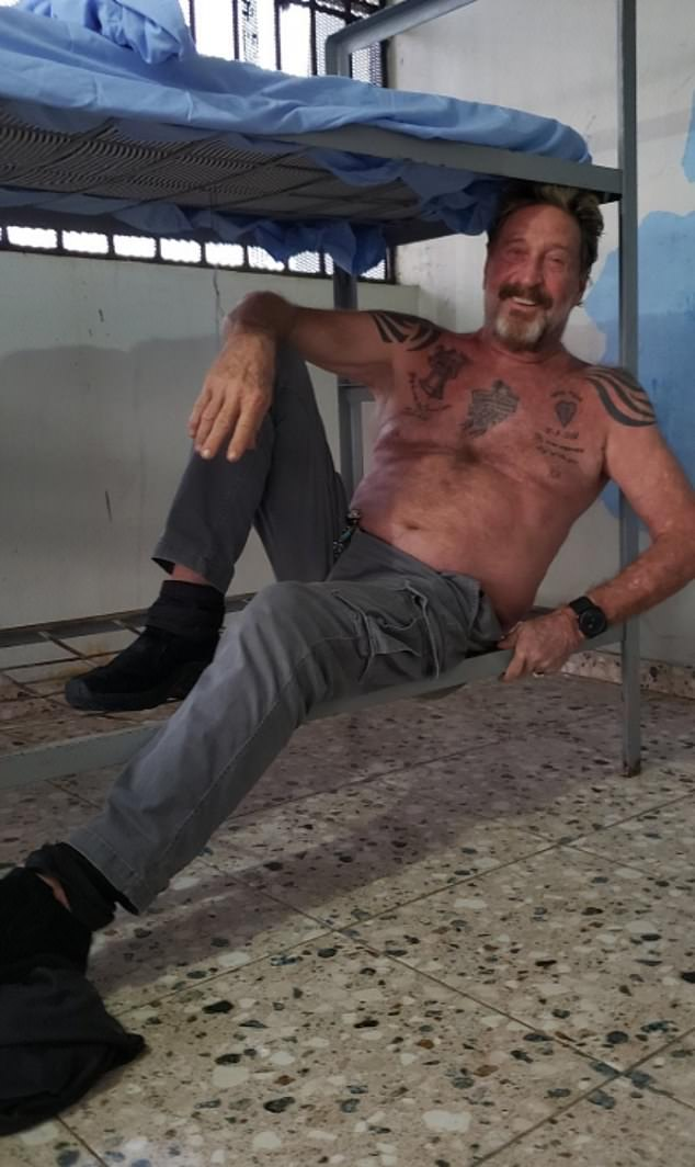 Last summer McAfee shared photos of himself shirtless while being detained in the Dominican Republic. He and his wife were arrested for sailing into the island with a boat-load of firearms