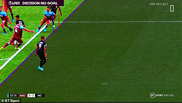 Raheem Sterling's shoulder was deemed to be marginally offside, causing controversy in a game against West Ham in 2019, and demonstrating the absurd precision VAR seeks