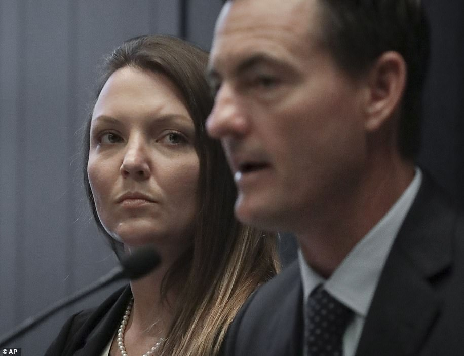 Alleged victim Courtney Wild (left) is pictured with her lawyer. She claims she was just 14 years old when she met Epstein