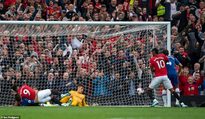 Anthony Martial doubled United's lead shortly after the hour mark after bundling the ball past KepaArrizabalaga