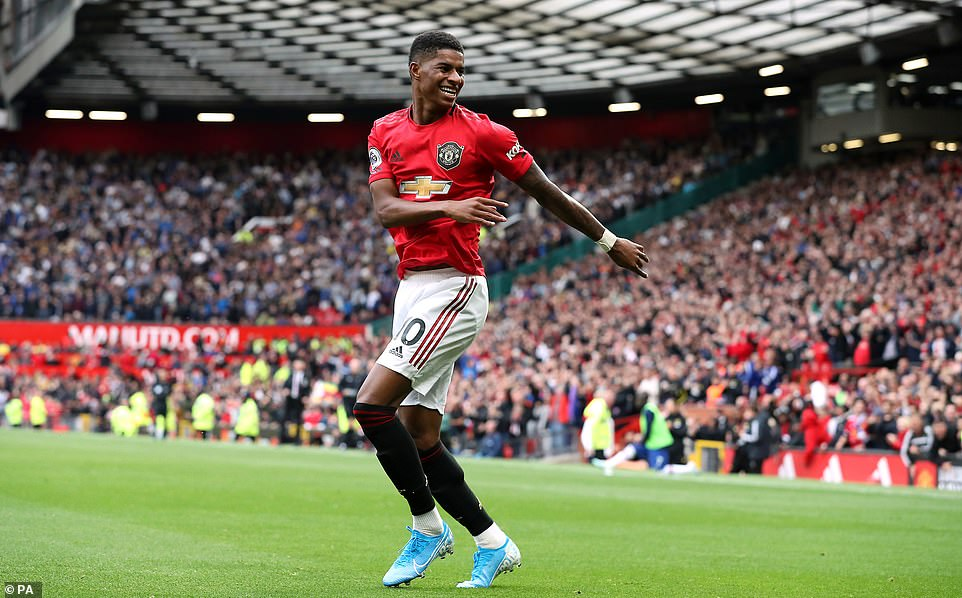 Rashford looked delighted after breaking away minutes later to grab his second and United's third of the afternoon
