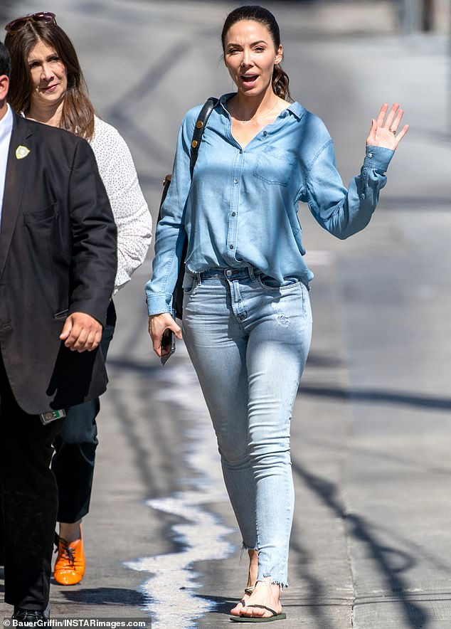 Making an appearance: Later on Monday, Whitney arrived at Jimmy Kimmel Live in Hollywood for a taping