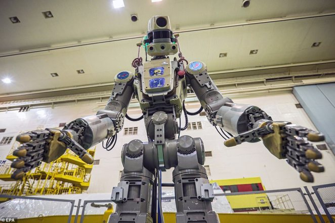 Space-bound: Nicknamed Fedor - which stands for Final Experimental Demonstration Research - the anthropomorphous machine was seen undergoing a battery of stress-tests at the Baikonur Cosmodrome in Kazakhstan