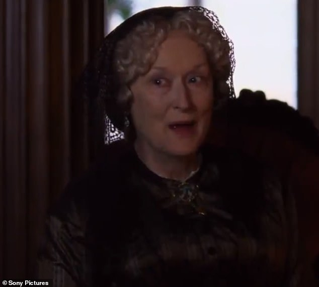 In character: Meryl Streep also transforms into the sisters' Aunt March, a wealthy widow who masks her naturally soft nature with a stern persona