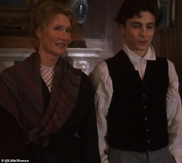 Cast: She also appears to capture the attention of an eligible young suitor Theodore 'Laurie' Laurence (Timothée Chalamet)