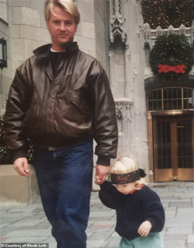 Heartbreaking:Her dad, who is pictured with her as a child, committed suicide nine years ago when she was just 17 years old