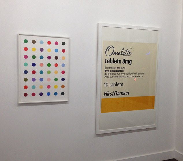 """Oleoylsarcosine"" by Damien Hirst at the Exhibitionist Gallery in Blenheim Crescent, London. Two signed Damien Hirst artworks worth £33,000 were stolen from the gallery on December 9"