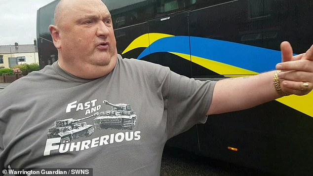 The road rage driver was sporting a strange T-shirt referencing the Fast and Furious movies and Adolf Hitler