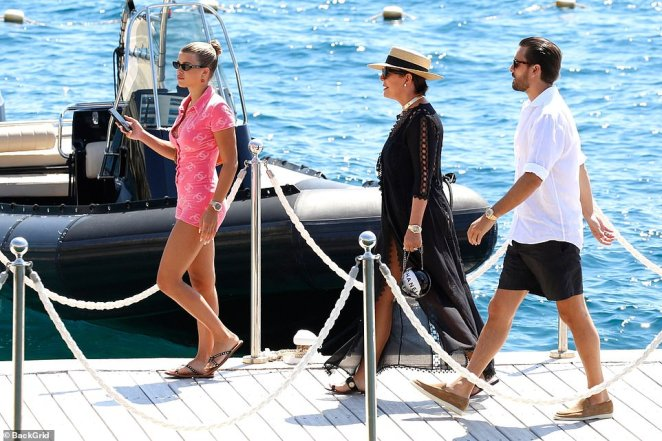 Friends in high places: The group were joined by Kylie's mother, Kris Jenner (centre), Scott Disick, (right) and his girlfriend Sofia Richie, (left)