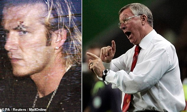 Sir Alex Ferguson's (right) treatment of players during Manchester United's meteoric rise to the top of the Premier League is emblematic of this harsher approach. However, it did also lead to him kicking a football boot at David Beckham in 2003 (left)