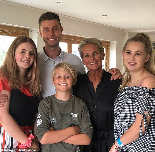 Pride and joy: Ulrika is a mother of four but will not date anyone younger than her eldest son Cameron, 26 (second from top left)