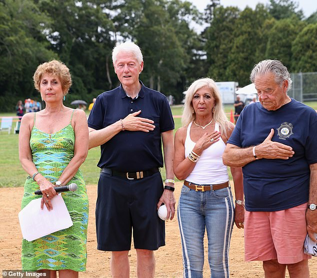 Bill Clinton with Juliet Papa and Paul Rickenbach at the East Hampton Artists and Writers Charity Softball Game