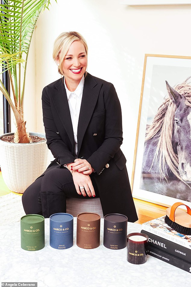 Her first horse Marco inspired her to start a wellness and candle company called Marco & Co