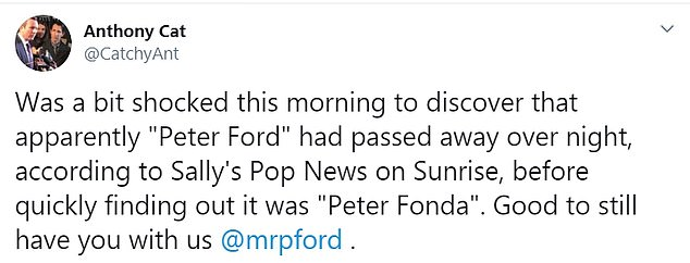 Ford or Fonda? As footage of late Hollywood star Peter Fonda played on screen, a handful of Sunrise viewers expressed their confusion on Twitter