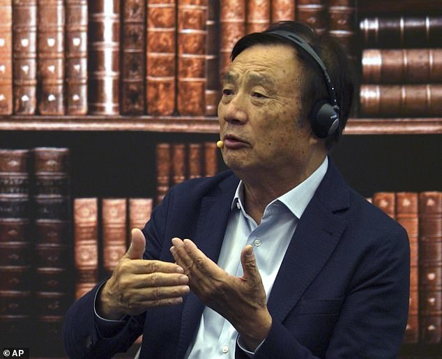 Andy Purdy claimed that you 'can't trust anyone' and said Huawei is a 'pawn' when it comes to the increasing Tech Cold War between China and America (picturedHuawei founder Ren Zhengfei)