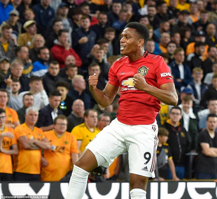 Anthony Martial put United ahead in the 27th minute on Monday after emphatically striking past Patricio in the Wolves goal