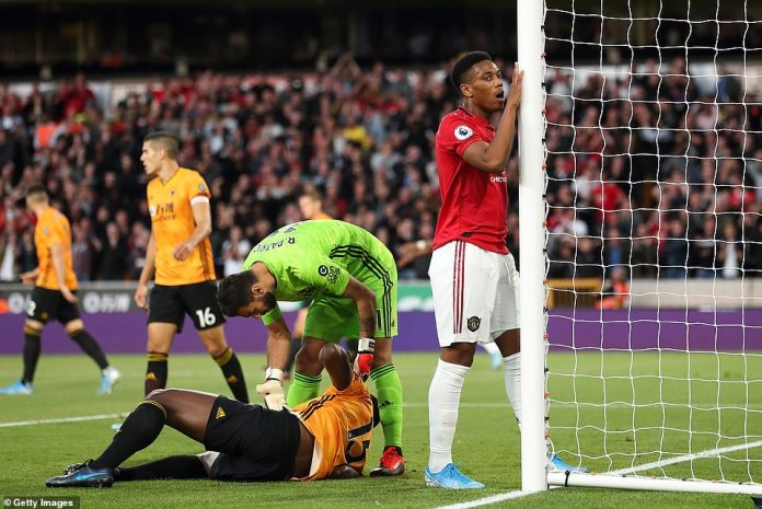 The Frenchman reacts after failing to provide the finishing touch while Wolves defender Willy Boly lies on the ground