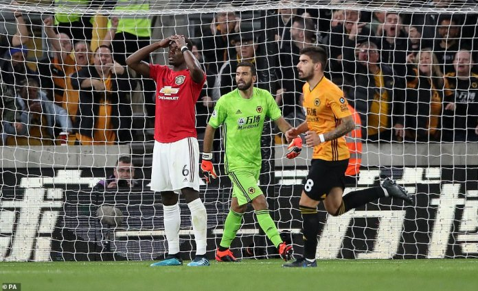 Pogba, who is looking for a route out of Old Trafford, reacts after seeing his penalty saved by the Wolves goalkeeper