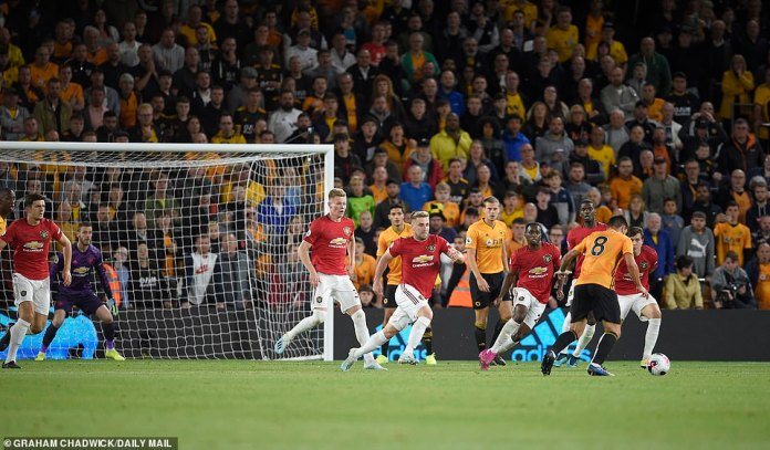 Luke Shaw tries to close down Neves, who gets his feet set to strike at United's goal 10 minutes into the second half