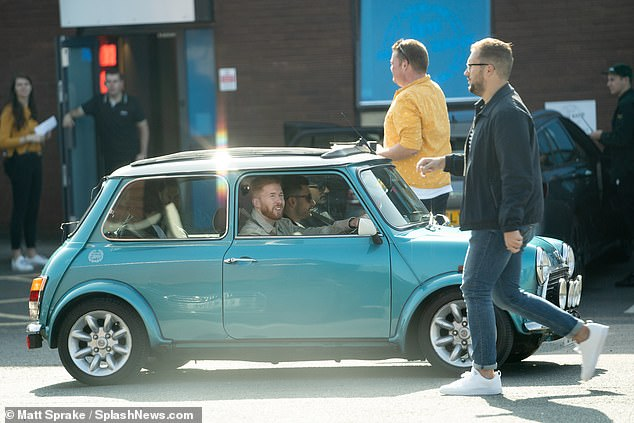 Stylish arrival:The dancers appeared to be using some retro props for their rehearsals, as Neil Jones arrived in a vintage mini