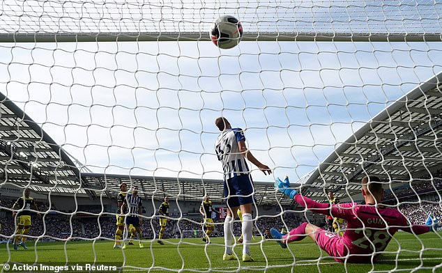 The ball rifled into the top of the net despite the best efforts of the Brighton defenders