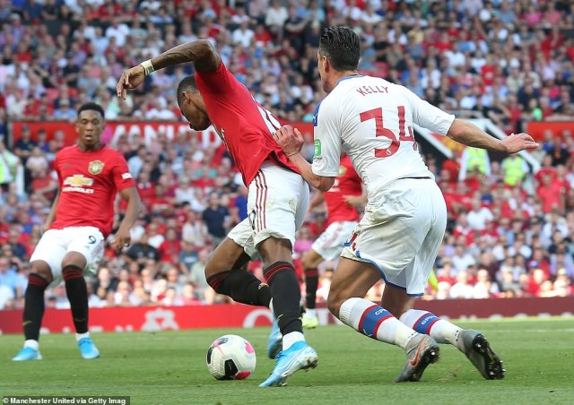Rashford had a claim for another penalty turned down by VAR following Martin Kelly's challenge in the area