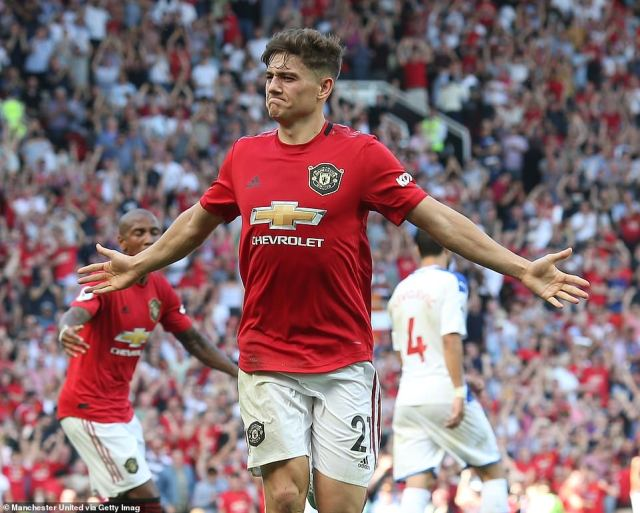 Daniel James celebrates after scoring what he thought was a late equaliser for United against Palace