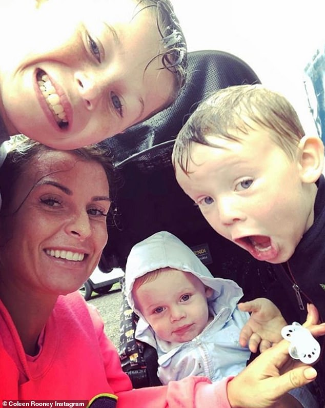 On Wednesday, Coleen Rooney shared a sweet picture with her sons, Kai, nine, Kit, three and Cass, 18 months, got caught out in a thunderstorm. Coleen and the couple's four children are currently in the UK, while Wayne continues to play for DC United in the US