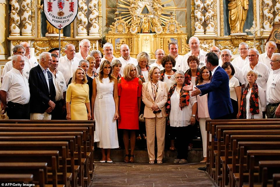 The group in a Saint-Etienne church after attending a traditional song performance during a visit on traditional Basque culture in Espelette, near Biarritz