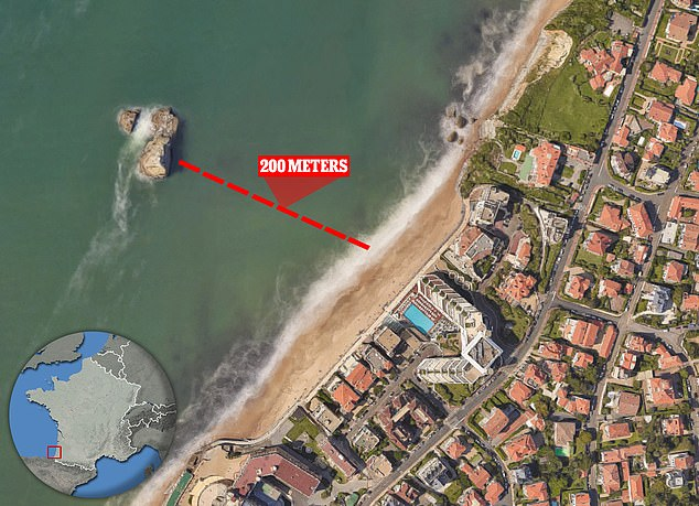 An aerial view reveals Mr Johnson's discovery - a way through La Roche Ronde which is not visible from the beach in front of the outcrop. Inset: Biarritz