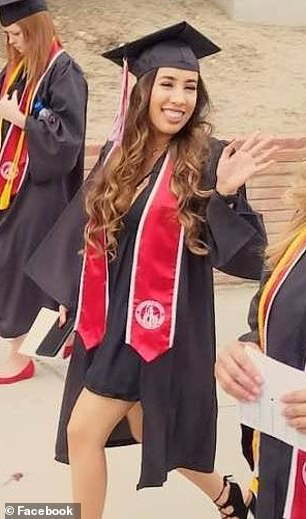 Dr Park is currently facing an allegation of negligence from the Medical Board of California for his role in the death of a patient in 2016.Pictured: Dominguez graduating from Bakersfield College in 2017