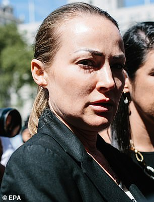 Davies, a massage therapist, has accused Epstein of raping her on multiple occasions. She spoke publicly about the allegations during a New York court hearing in August (pictured)