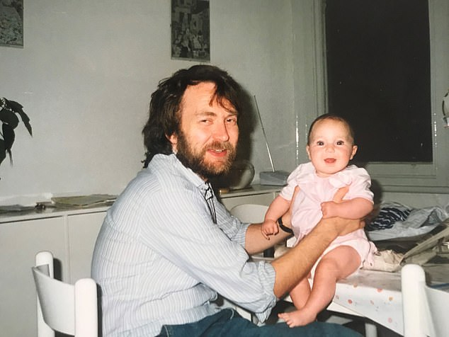 My dad Jeff was diagnosed with a rare form of sinus cancer when I was aged just seven (pictured: Eve as a baby with her father Jeff)