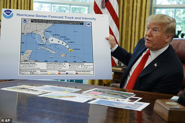 President Trump says he did not use a sharpie to alter a National Oceanic & Atmospheric Administration map to put Alabama in Hurricane Dorian's path. But someone did - and he displayed the almost week-old altered map in the Oval Office Wednesday