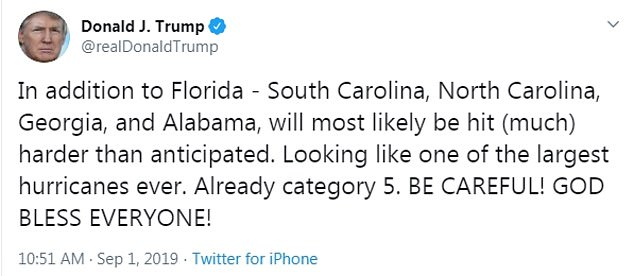 The tweet: This was when Trump introduced Alabama into the danger zone Sunday