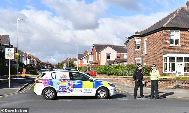 This morning police continued to guard the crime scene in West Park Drive, Blackpool