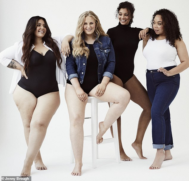 From left: Maria, 20, wears shirt, Next; body, Sloggi, figleaves.com, ¿Having to pad out your curves is humiliating.¿ Abby, 27,wears jacket, H&M; body, Wolford, figleaves.com, ¿Brands want an hourglass shape but with a slim, toned stomach.¿ Aleesha, 31,wears body, Wolford, figleaves.com, ¿Our belly rolls, stretchmarks and cellulite are never shown.¿ Holly, 27,wears vest, Next; jeans, Evans, ¿We¿re expected to have a waist ten inches smaller than our hips ¿ it¿s a huge pressure.'