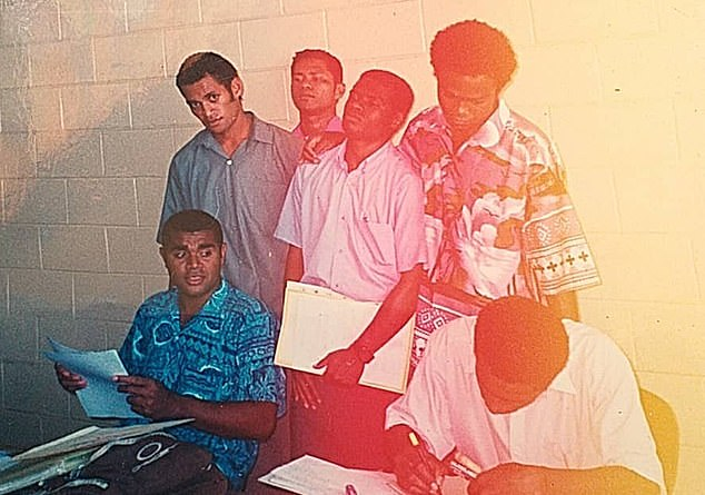 A young Mr Cirivakayawa (front row) at teaching college with friends, including Saula Watson Buro (back row, left)