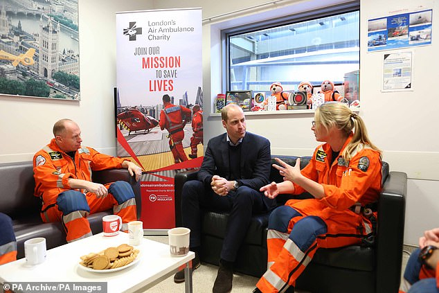 Among the four snaps showed Prince William during a visit to the Royal London Hospital for London's Air Ambulance 30th anniversary celebrations on January 9, 2019 (pictured)