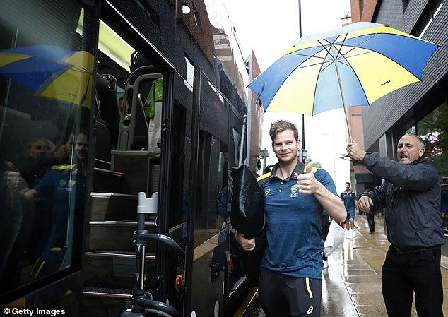 Smith gives the thumbs up as Australia leave soggy Manchester to travel to London on Monday