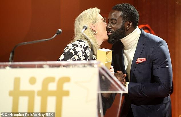 Meryl and Sharmier: Meryl Streep kisses Sharmier Anderson on the cheek