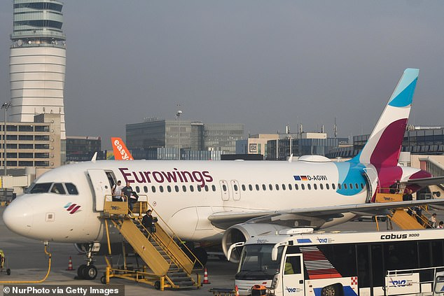 Eurowings aircraft at Vienna International Airport. On landing, emergency services rushed to the plane