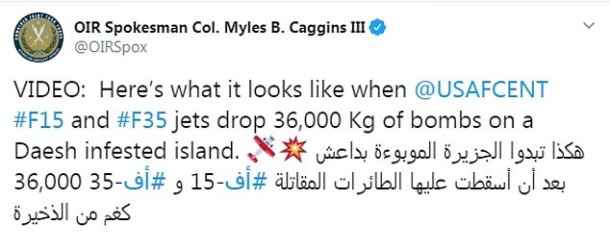 Operation Inherent Resolve spokesman announces the bombing raid on what he described as a 'Daesh [ISIS] infested island' in Iraq