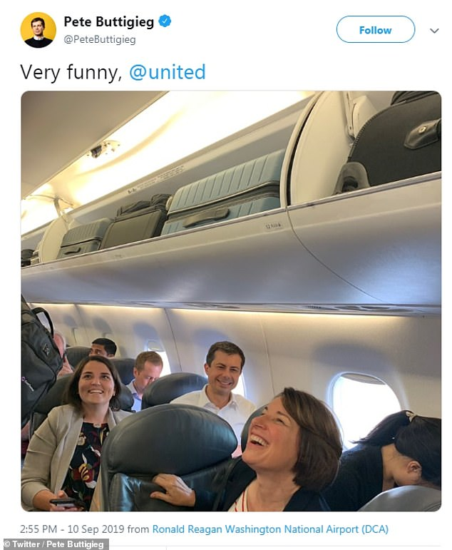 The Democratic candidates are in route to Houston for the debate; Pete Buttigieg and Amy Klobuchar ended up on the same flight Tuesday