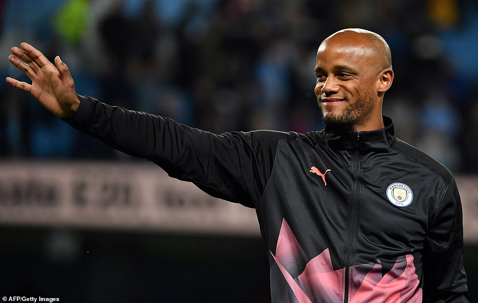 Kompany does a lap of honour at full-time as he applauds the fans in all four stands at the Etihad Stadium