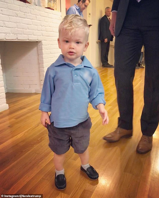 Uniform: Lara proudly posted pictures of Luke's first day, including a snapshot of him wearing a light blue polo, shorts, and loafers