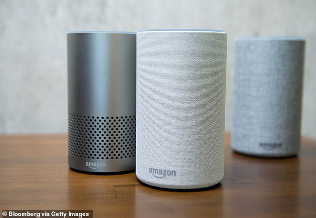 Security researchers planted eight apps designed to spy on users onto the Google Home and Amazon Echo (pictured above) as part of a test on device security (File photo)