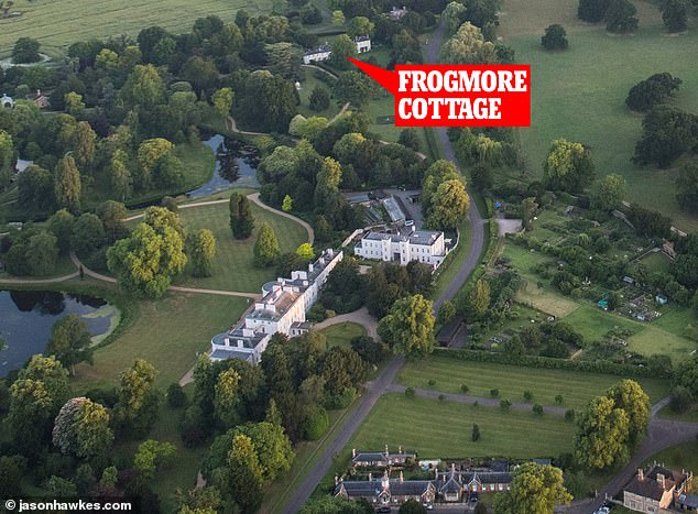An aerial shot of Frogmore Cottage, where Harry and Meghan live. The royal couple moved to the Grade II listed Frogmore Cottage on Windsor Estate in April
